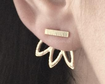 Double sided earrings - Silver earrings - Silver Bar - Silver Leaves - Christmas Gift - Sister - Friend Gift