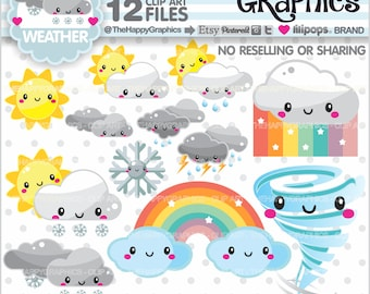 Weather Clipart, 80%OFF, Weather Graphics, COMMERCIAL USE, Forecast Clipart, Planner Accessories, Weather Icons, Cloud Clipart, Sun, Kawaii