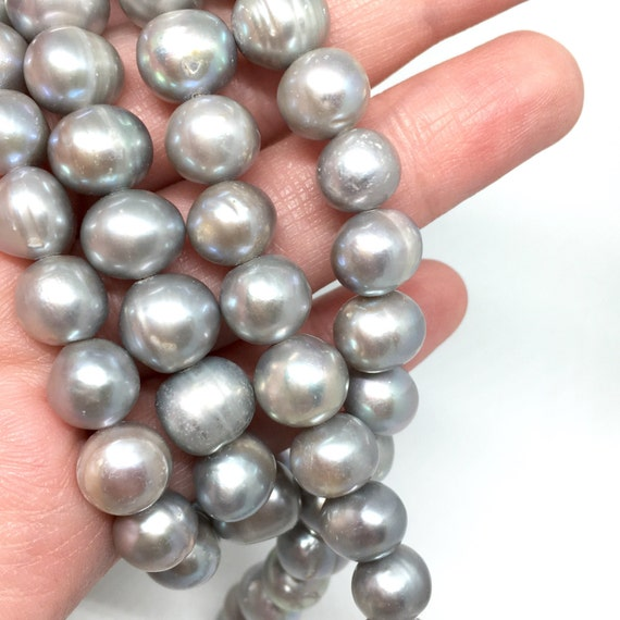 Grey Pearl Beads: 10mm Silver Grey Pearl Beads