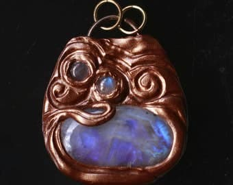 Ancient Guardians - Guardian Eye Zelda Triple Rainbow Moonstone Pendant