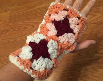 Crocheted Granny Square Fingerless Gloves/Hand Warmers