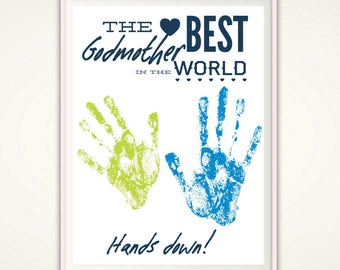 Godmother Gifts - Personalized Gift for Godmother, INSTANT Download DIY Handprint Art, Baptism Gift, Christening Gift, Godparent Gift, PDF