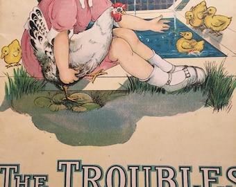 Vintage Children's Book, The Troubles of Biddy, Isabel Byrum, Margaret Evans Price, 1917, Chickens, Easter Gift