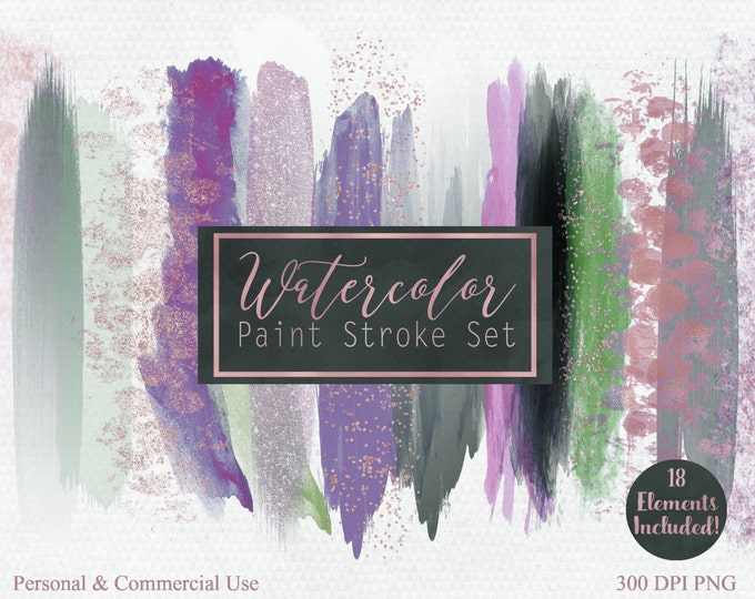 WATERCOLOR BRUSH STROKES Clipart Commercial Use Clipart 18 Watercolor Headers Rose Gold Confetti Clipart Watercolor Textures Logo Clip Art