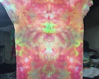 Girls Medium Tie Dye V Neck T Shirt