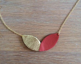 Flowers Necklace (gold / rust)