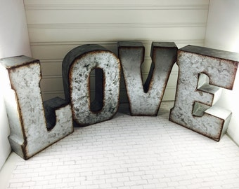 """ON SALE/ 7"""" Metal Letter /LOVE/ Metal Letters/ 7 inch letter/word love/Letter/Wedding Decor/Rustic/ Initials/Wall Letter/ Shelf"""