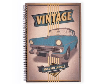 Notebook Personalie - Cars, Stationery, Recycled Paper, Lined Paper, A4 Notebook, Blank Paper, Journal, Old Cars, Vintage, Holden