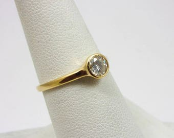 Solid 14K Yellow Gold 0.40 CT Bezel Set Diamond Solitaire Engagement Ring Size 7