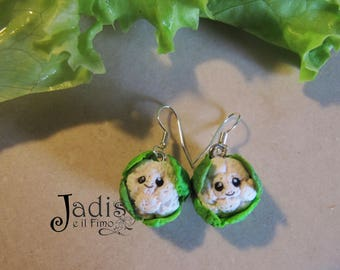 Polymerclay Smiling Cabbages Earrings
