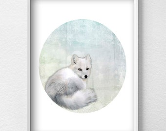 Polar fox poster Scandinavian Print Arctic Printable Wall Art Winter Nature Printable Decor Minimalist Printable Art Polar fox Prints