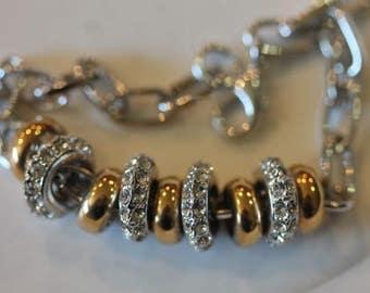 Silver tone gold tone rhinestone bead link bracelet
