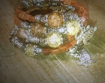 Memory wire wrap bracelet, Brown Memory Wire Wrap Bracelet