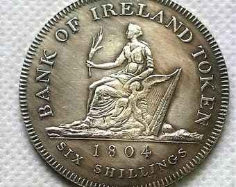 1804 Irish Coin of Hibernia and George III , Museum Reproduction, Large 30mm NOW 4 sent for every 3 you order