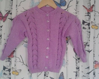Lilac Cardigan, 7 - 8 Year Old, Childs Cardigan, Sparkly Cardigan, Knitted Cardigan, Handmade, Hand Knitted