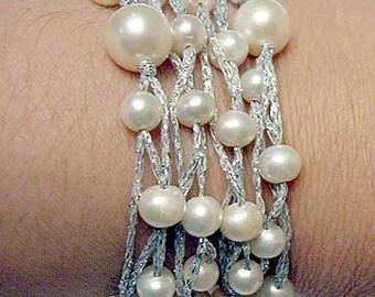 Multi Strand Fresh Water Pearl Silver Bracelet