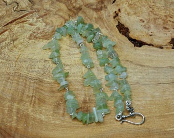 Men's New Jade Chip Stone Necklace ~ Green Natural Stones  ~ Serpentine Stones ~ Chakra ~ Unisex ~ Gift for Father ~ Good Luck Stones