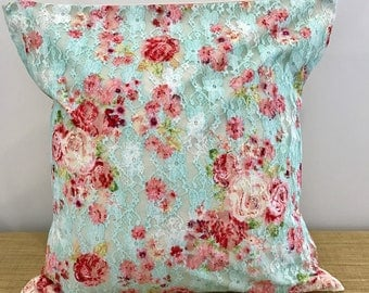 Lace Fabric Cushion Cover Blue and Pink Romantic Vintage Floral throw pillow. 18' (45cm) . Made Australia. One of a Kind.