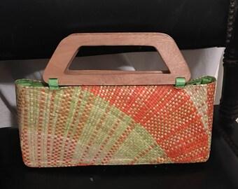 Midcentury straw handbag with wood handles