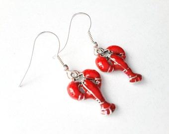 Red Lobster Dangles . Earrings