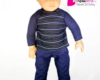 American made Boy Doll Clothes, 18 inch Boy Doll Clothing, Navy Baseball Tee with Navy Pants, made to fit like American Girl doll clothes