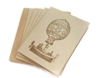 Blank Note Card Set, Hot Air Balloon, Steampunk Style, Note Card Set, Vintage Style Note Cards, Notecard Set, Airship Cards, Any Occasion
