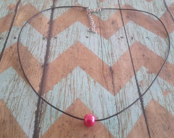 leather necklace,  pearl necklace, hot pink pearl,dainty necklace, teen necklace, necklace for teens, simple necklace, unique necklace
