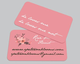 Modern Typography BUSINESS CARD / Florist Calling Card / Custom Contact Card
