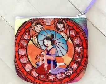 Disney Mulan coin purse zipper pouch business card holder