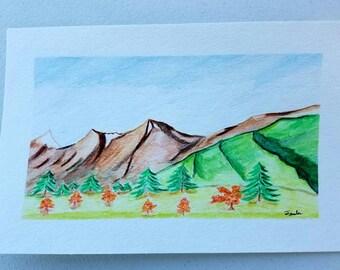 """Watercolor, """"Alaska Summers"""", 5.5 x 8.5"""""""