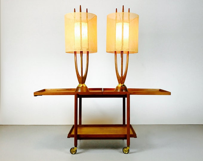 Pair Of Mid Century Modern Adrian Pearsall Modeline For Craft Associates Table Lamps Pristine