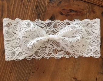 Baby Lace Headband, stretchy lace, baby headbeand, ivory headband, white headband, Baby Head Wraps