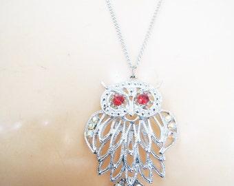 Silver Tone Owl Necklace