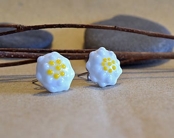 Button earrings / / MURANOS / / silver / / Margaritas / / handcrafted