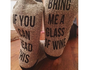 If You Can Read This Socks - Bring Me a Glass of Wine Socks - Bring Me a Beer Socks - Give Me The Remote Socks - Man Gift - Dad Gift