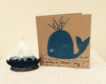 Father's Day Card with cute blue whale
