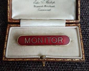 Vintage school Prefect MONITER red enamel badge pin