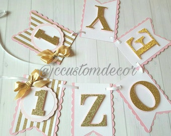 Pink Gold Girl Birthday Banner-One Gold Pink Banner-Pink Gold Banner-Pink Gold One Banner-One Pink Gold Banner-Pink Gold First Birthday
