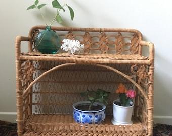 Vintage Wicker Standing Shelf - Rattan 2 Tier Shelf, Bohemian, Wall Shelf