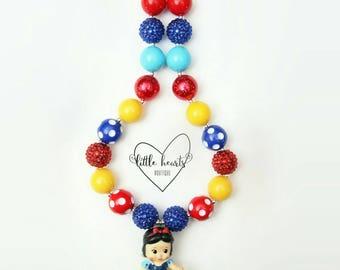 Snow White chunky bubblegum necklace