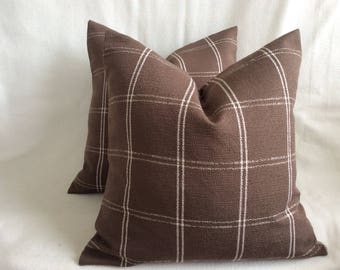 Pair of Designer Pillow Covers - Classic Windowpane Check - Brown/ White - 2pc Set -  18x18 Covers