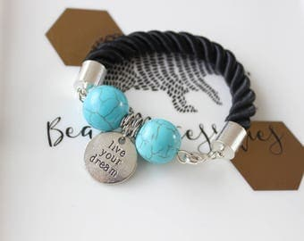 Turquoise Charm Bracelet ''Live your dream''