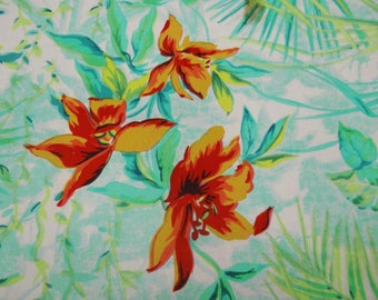 """Dressmaking Fabric, Floral Print, White Fabric, Sewing Crafts, Upholstery Fabric, 44"""" Inch Cotton Fabric By The Yard ZBC7585A"""