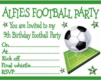 Personalised Boys football Birthday Party Invitations x 10 with envelopes