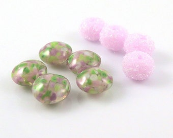 Lampwork Beads, Pink, Green, Glass Beads, Sugar Beads, Destash Beads, Handmade