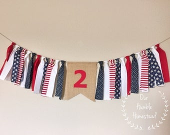 Stars and Stripes Forever High Chair Banner - Patriotic, Red, White, and Blue