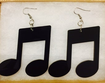 Black Acrylic Eighth Notes Music Earrings