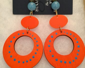 Hand Painted Orange and Blue Wood and Acrylic 4.5in Long Earrings