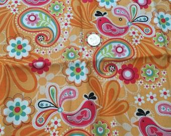 paisley Birds and flowers tangerine fabric