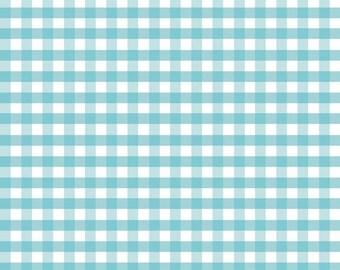 "Aqua White 1/4"" Quarter Inch Medium Gingham - Riley Blake Designs - Blue Checker - Cotton Woven Quilt Fabric - by the yard fat quarter half"